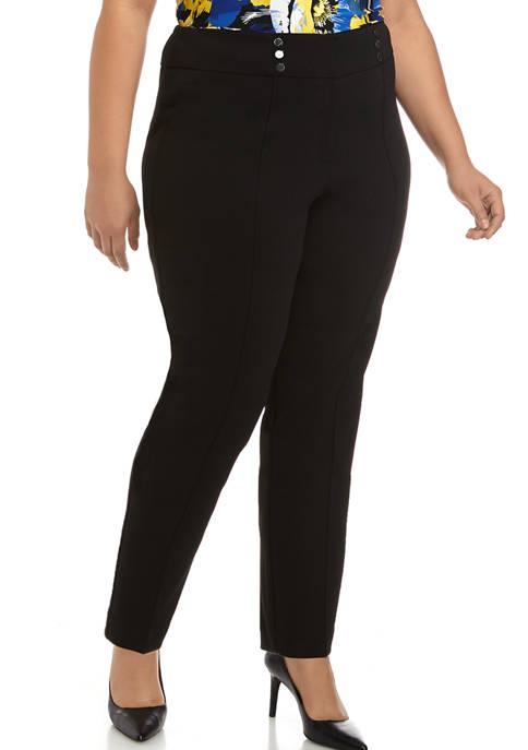 Kasper Plus Size Drapey Crepe Pants with Front