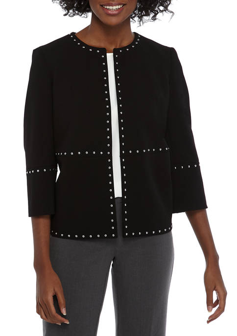 Kasper Womens Crop Jewel Neck Jacket with Trim