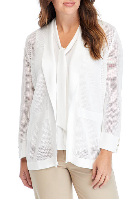 Kasper Womens Long Sleeve Honeycomb Cardigan