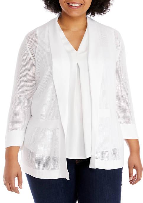 Plus Size 3/4 Sleeve Honeycomb Cardigan