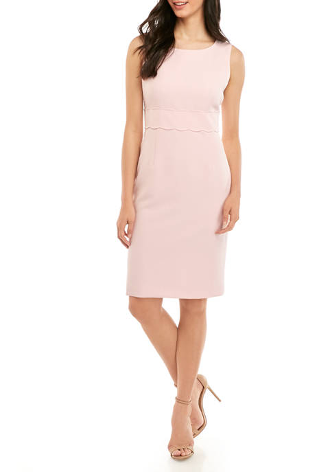 Womens Scalloped Waist Sheath Dress