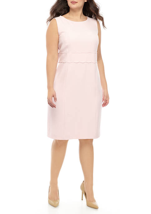Plus Size Sheath Dress with Scallop Waist Detail