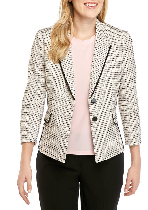 Kasper Womens Piped Tweed Notch Collar Jacket
