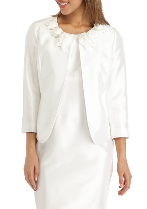 Womens Rose Trim Shantung Jacket