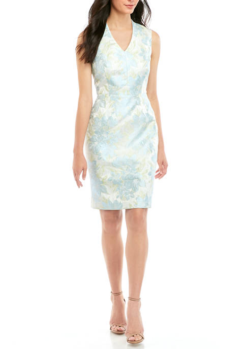 Kasper Womens Floral Jacquard Sheath Dress