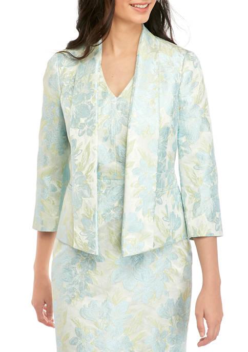Kasper Womens Floral Jacquard Shawl Collar Jacket
