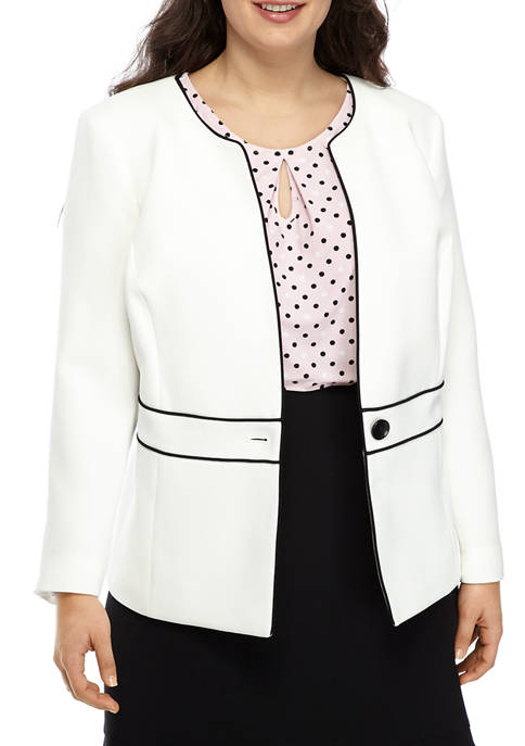 Plus Size Tipped Collarless One Button Jacket
