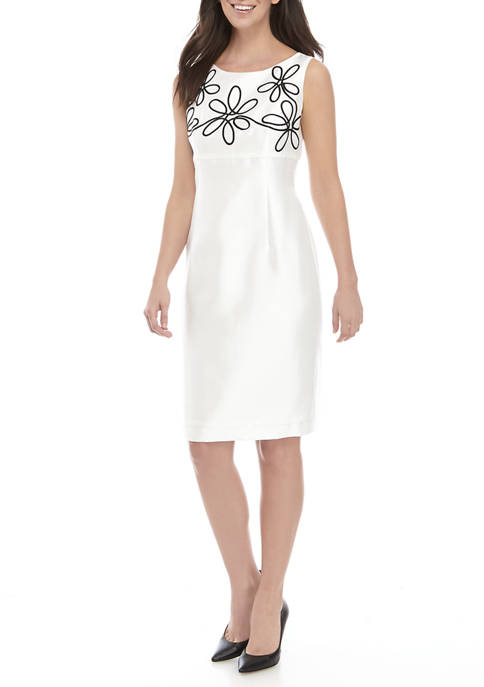 Womens Floral Embroidered Sheath Dress