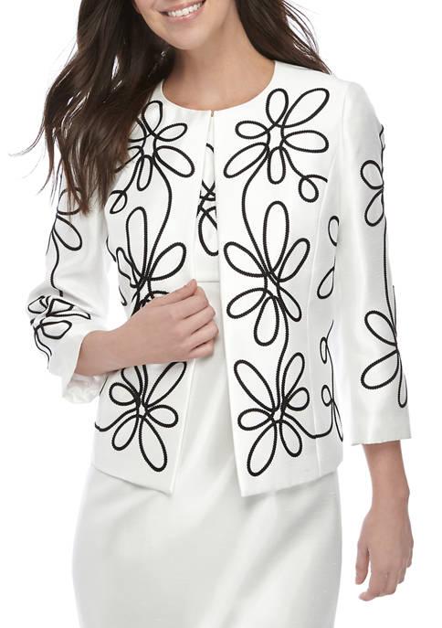 Kasper Womens Floral Embroidered Jewel Neck Jacket