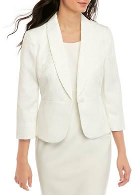 Womens One Button Leaf Jacquard Jacket