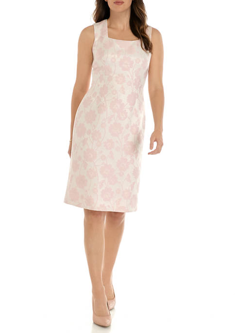 Womens Metallic Floral Jacquard Sheath Dress