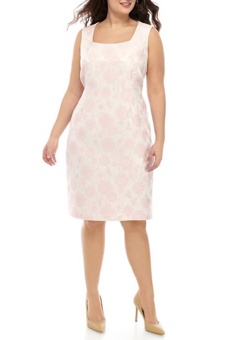 Plus Size Floral Jacquard Sheath Dress