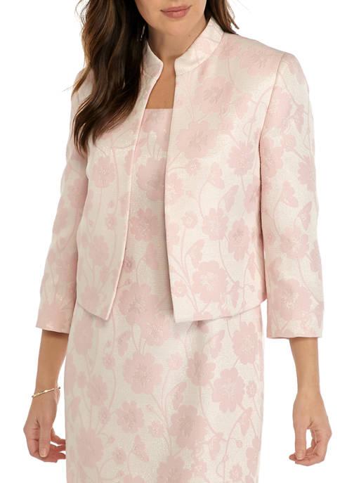 Womens Metallic Floral Jacquard Jacket