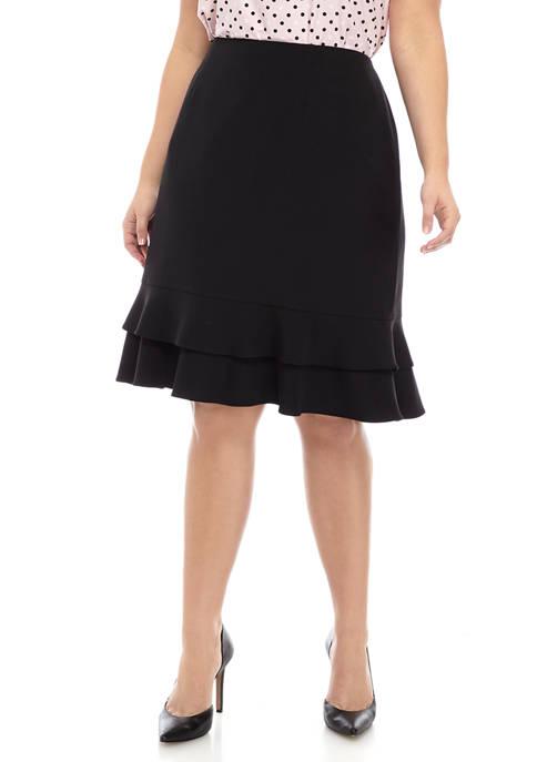 Plus Size Ruffle Hem Skirt