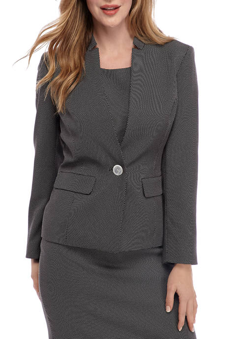 Kasper Womens One Button Pin Dot Jacket