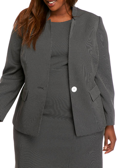 Kasper Plus Size One Button Pin Dot Jacket