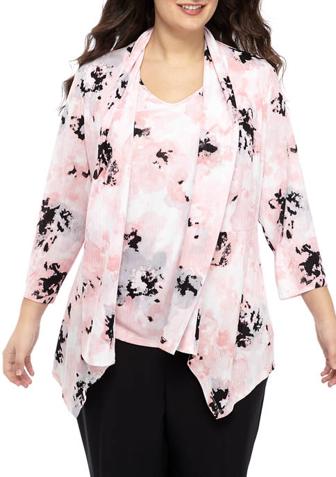 Plus Size Floral Printed Knit Cardigan