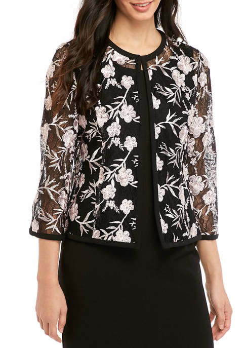 Kasper Womens Floral Embroidered Mesh Cardigan