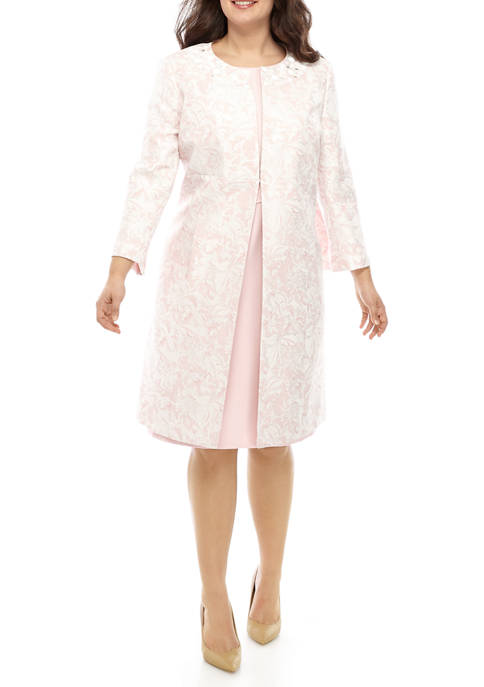 Plus Size Marble Jacquard Topper with Beaded Neck