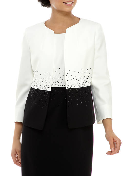 Womens Bead Trim Color Block Jacket