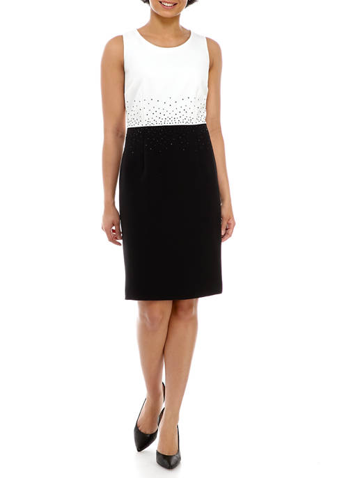 Kasper Womens Bead Trim Color Block Dress