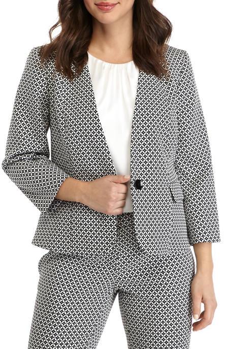 Kasper Womens Circle Jacquard One Button Jacket