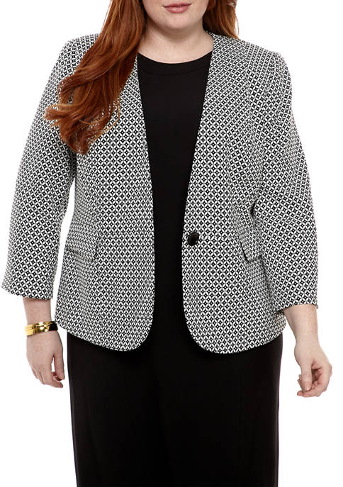 Kasper Plus Size Graphic Jacquard Button Jacket