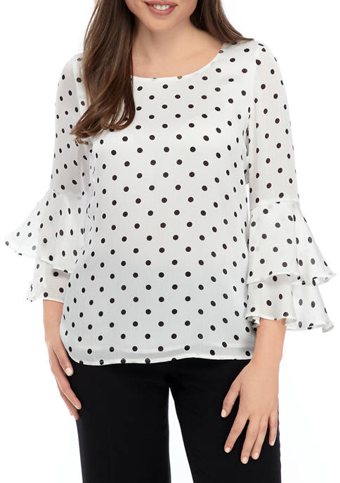 Womens Polka Dot Ruffle Bell Sleeve Blouse