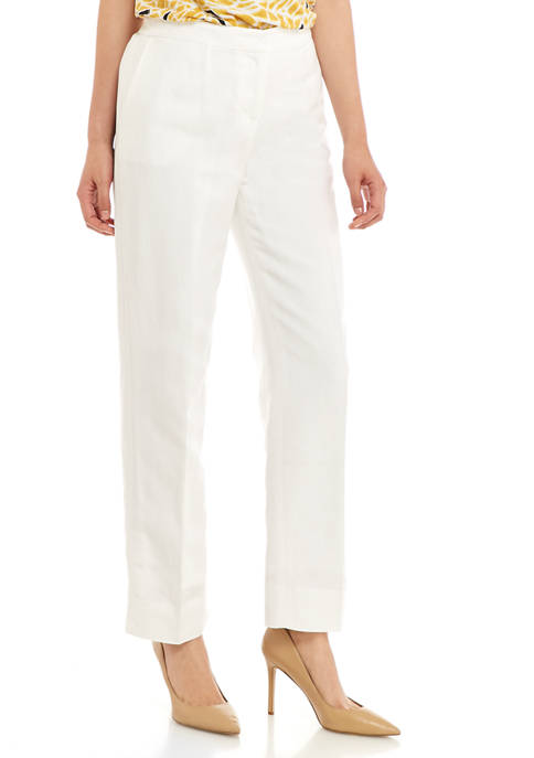 Kasper Womens Linen Front Zip Pants