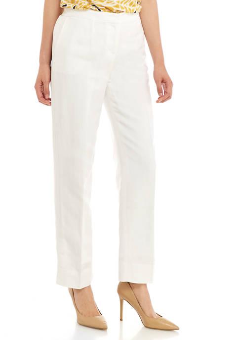 Kasper Petite Linen Front Zip Pants