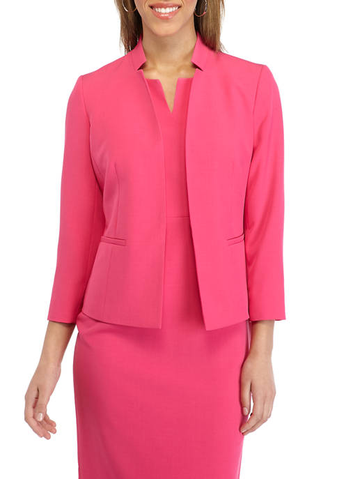 Kasper Petite Inverted Collar Crepe Jacket