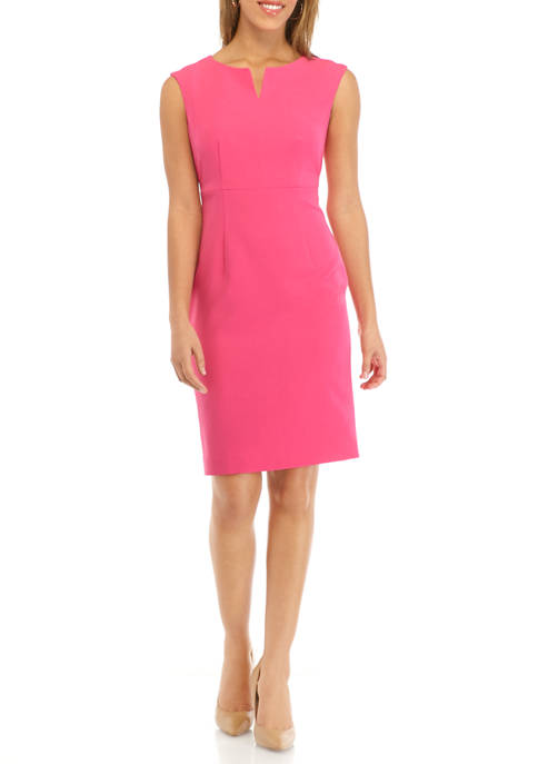 Petite Womens Split Neck Sheath Dress