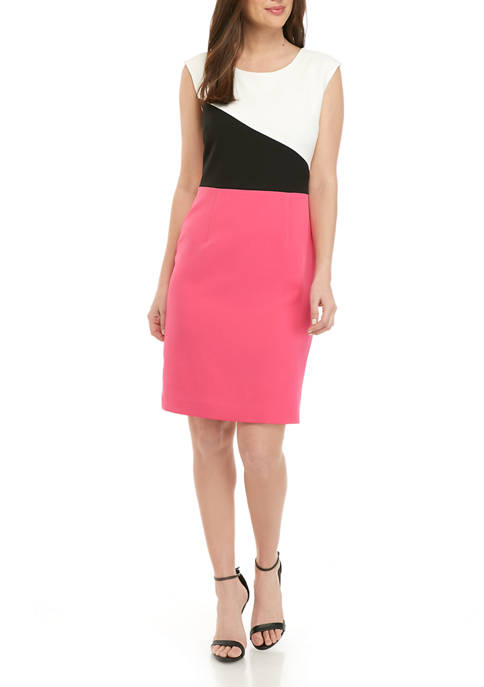 Kasper Womens Color Block Sleeveless Sheath Dress