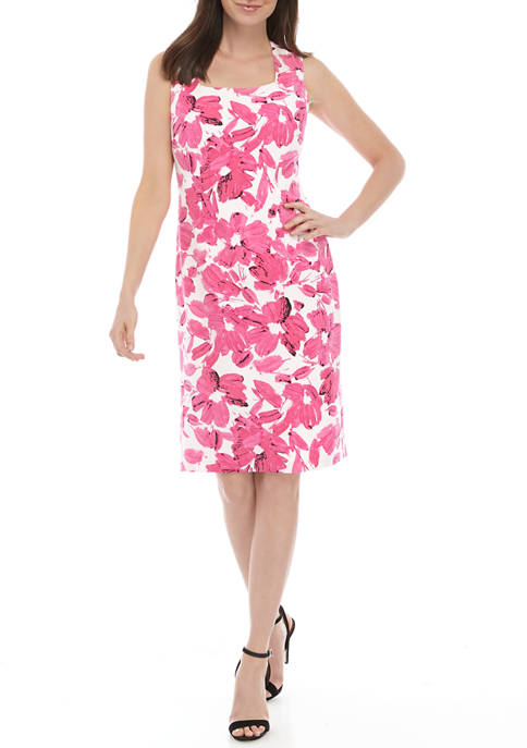 Womens Floral Square Neck Sheath Dress