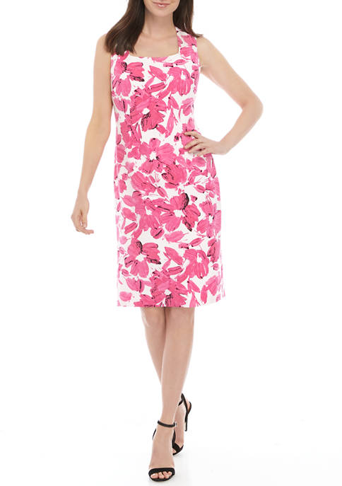 Kasper Womens Floral Square Neck Sheath Dress