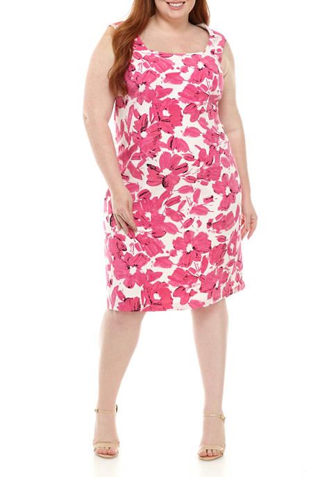 Plus Size Square Neck Floral Sheath Dress