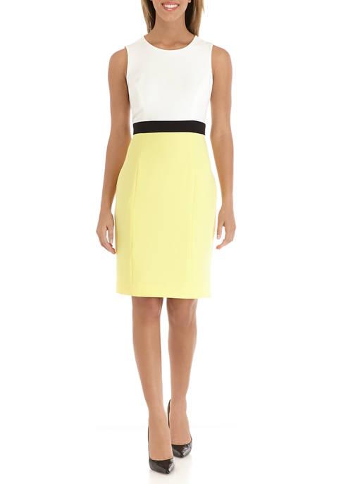 Womens Color Block Sleeveless Sheath Dress
