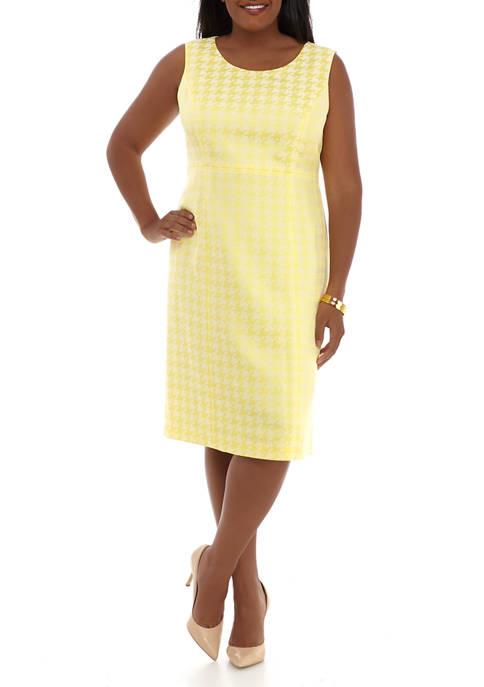 Plus Size Houndstooth Jacquard Empire Waist Dress