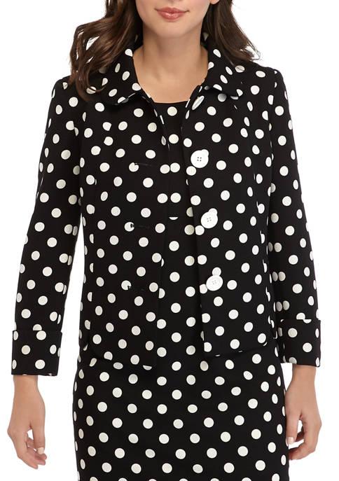 Kasper Womens Dot Peter Pan Collar Jacket