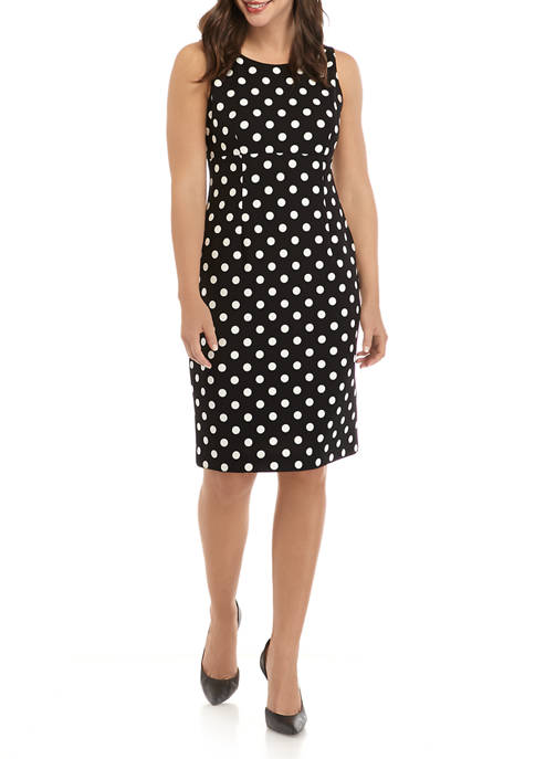 Kasper Womens Dot Empire Seam Dress