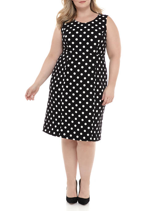 Kasper Plus Size Dot Empire Seam Sheath Dress