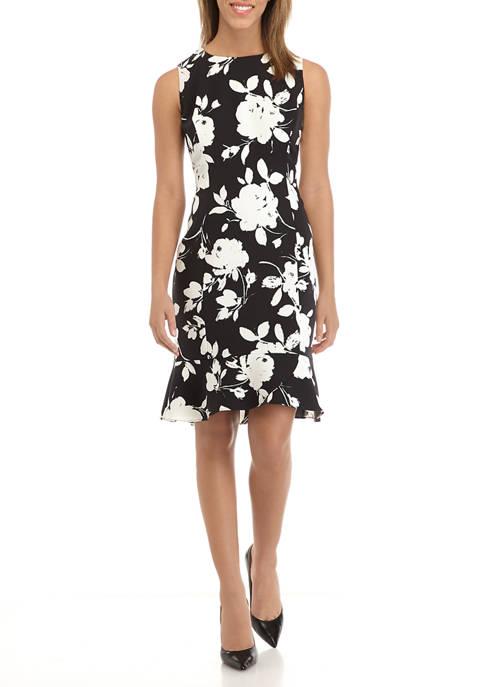 Womens Floral Ruffle Hem Dress