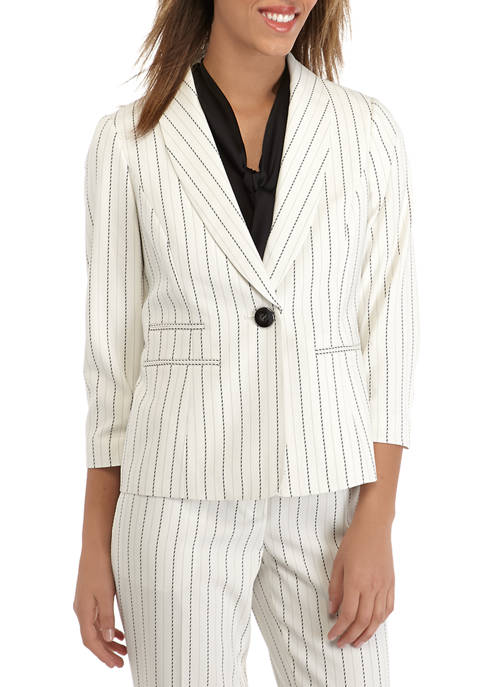 Kasper Womens Ruched Sleeve Pinstripe One Button Jacket