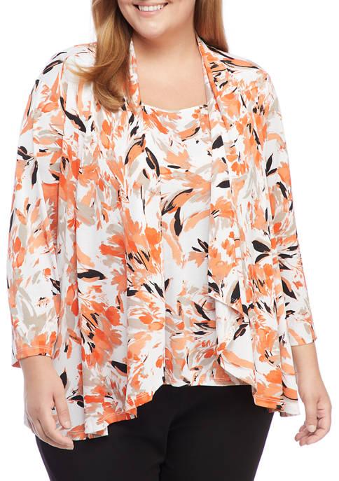 Kasper Plus Size 3/4 Sleeve Floral Knit Cardigan