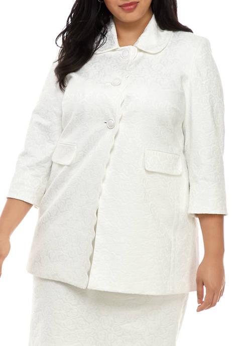 Kasper Plus Size Floral Jacquard Scallop Jacket