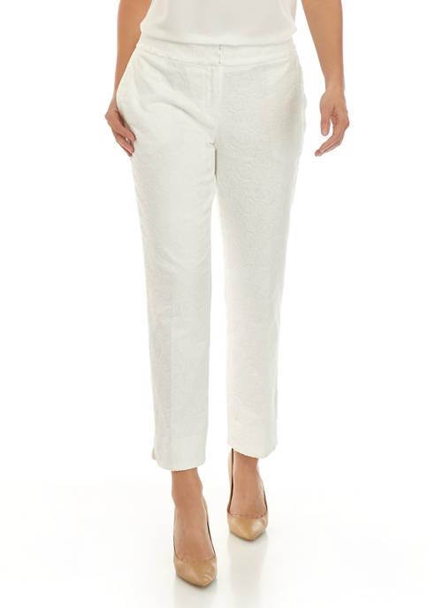Kasper Womens Floral Jacquard Slim Pants