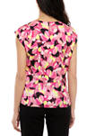 Womens Floral Satin Keyhole Blouse