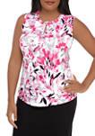 Plus Size Floral Twist Neck Top