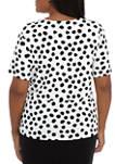 Plus Size Short Sleeve Dot Tie Front Blouse