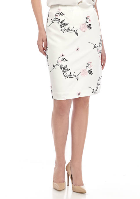 Womens Embroidered Floral Scuba Slim Skirt